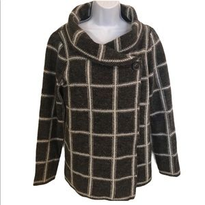 Ellen Tracy Wrap Coat With Shaw Collar Size L